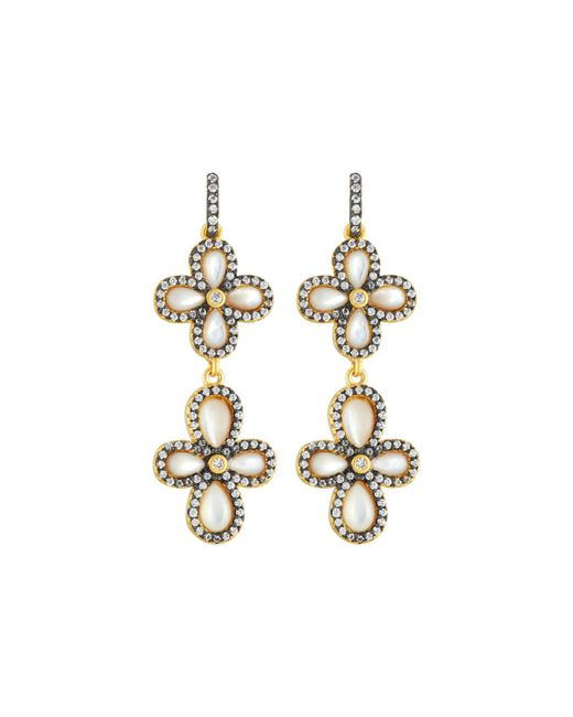 Freida Rothman - Metallic Double Pave Clover Drop Earrings - Lyst