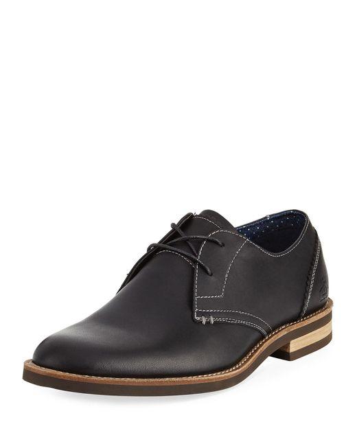 Original Penguin - Wade Leather Lace-up Oxford Black for Men - Lyst