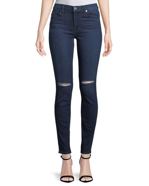 7 For All Mankind - Blue Gwenevere Medium-wash Ankle Jeans - Lyst
