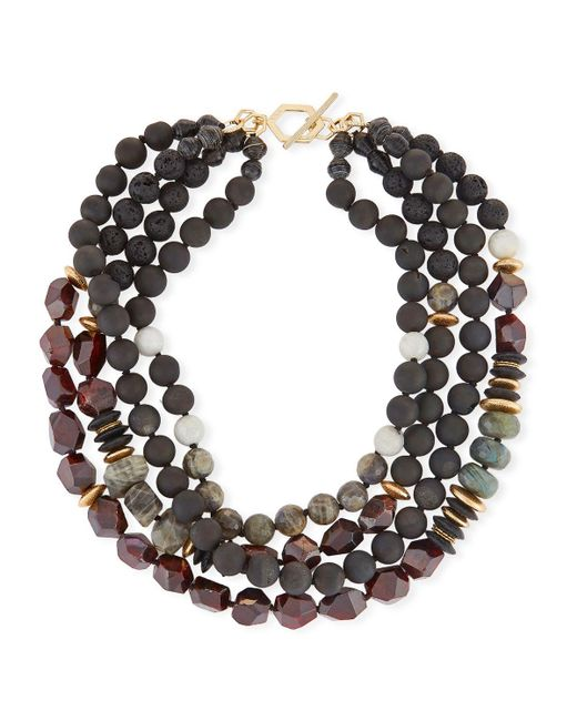 Akola - Black Four-strand Beaded Necklace - Lyst