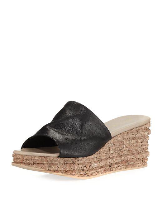 Sesto Meucci - Black Amanda Slide Cork Wedge Sandal - Lyst