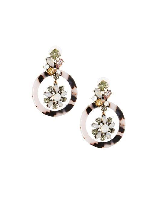 Fragments - Metallic Crystal Flower Hoop Drop Earrings - Lyst