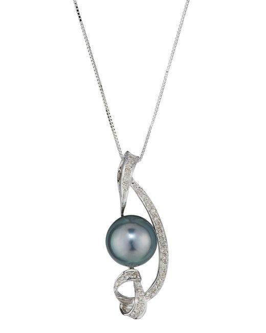 Belpearl | 14k White Gold Tahitian Pearl & Diamond Pendant Necklace | Lyst