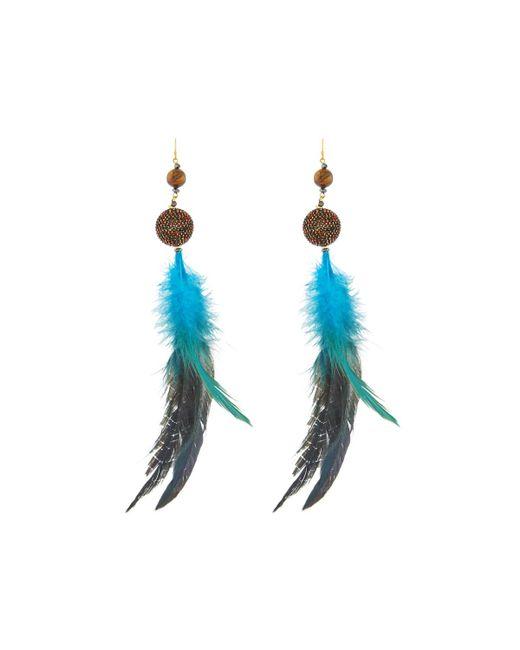 Nakamol - Blue Feather & Beaded Drop Earrings - Lyst