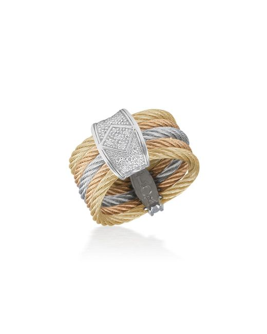 Alor - Metallic Tricolor Stacked Ring W/ Diamond Pave - Lyst
