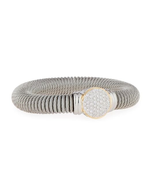 Alor - Yellow Cable Spring Coil Bracelet W/ Pave Diamond Station - Lyst