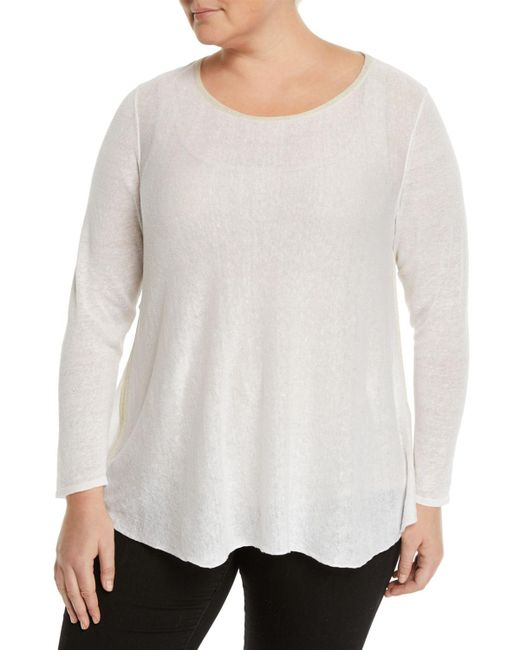 Lafayette 148 New York - White Bateau Sequin-collar Sheer Sweater Plus Size - Lyst