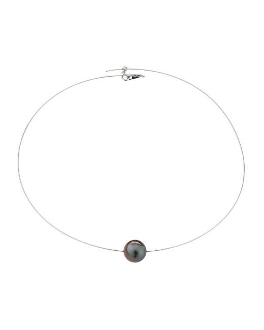Belpearl - White 18k Single Tahitian Pearl Wire Necklace - Lyst