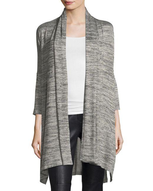 Grayse | Metallic 3/4-sleeve Heathered Open-front Cardigan | Lyst