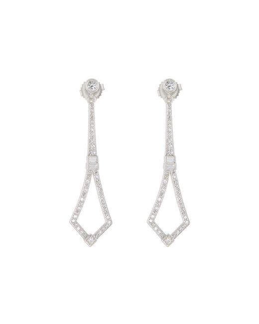 Penny Preville | 18k White Gold Art Deco Diamond Drop Earrings | Lyst