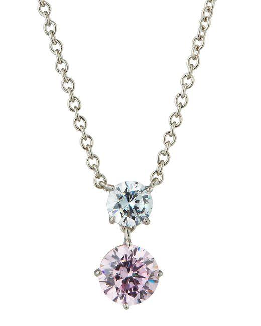 Fantasia by Deserio - Pink Cubic Zirconia Double-drop Pendant Necklace - Lyst