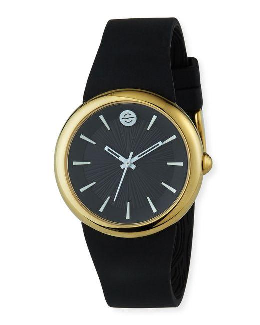 Philip Stein 36mm Round Classic-dial Watch W/ Silicone Strap Black/gold