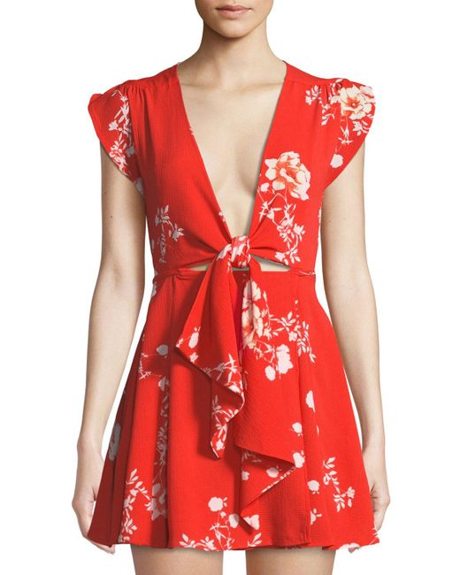Haute Rogue - Red Cassidy Floral-print Tie-front Mini Wrap Dress - Lyst