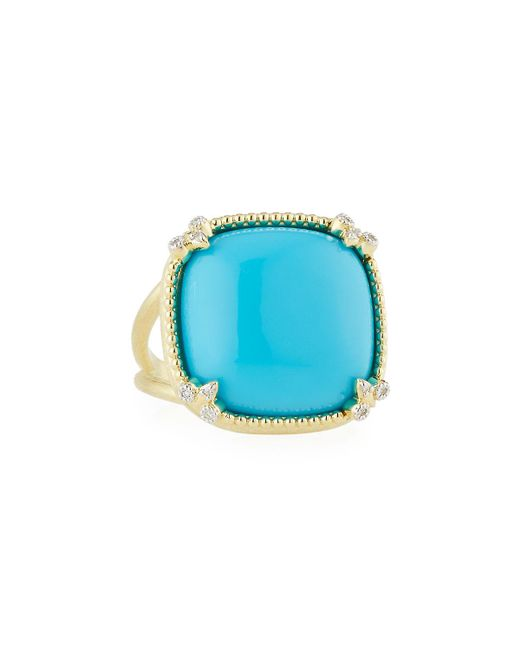 Jude Frances | Blue Turquoise Cushion Fleur Cocktail Ring W/ Diamonds | Lyst