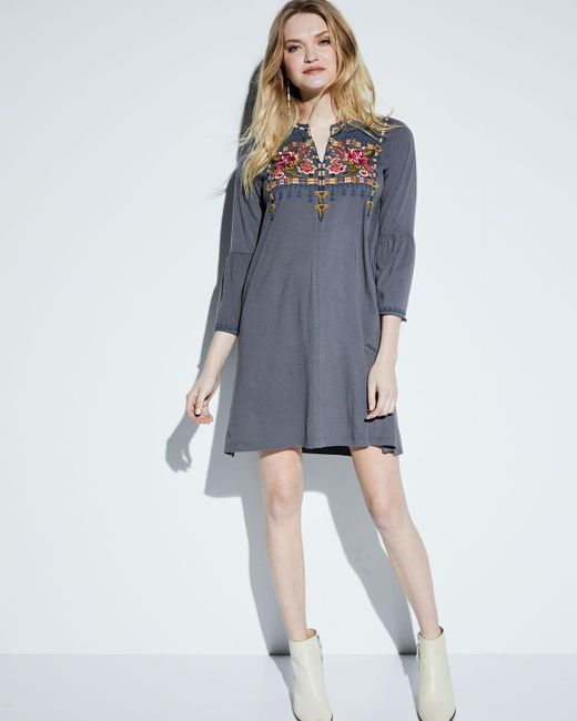 Johnny Was Axton Flare Sleeve Embroidered Tunic Dress In