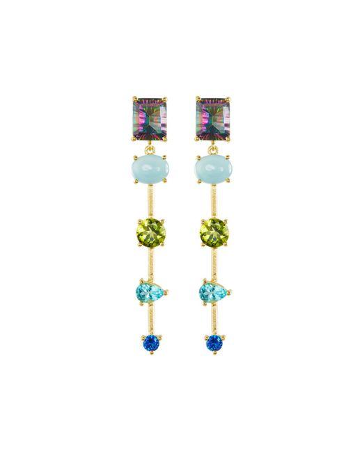 Indulgems | Multicolor Mixed-stone Linear Dangle Earrings W/ Mystic Quartz | Lyst