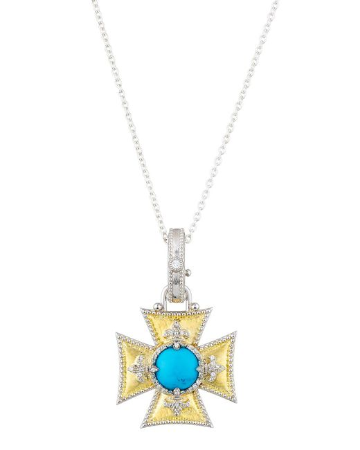 Jude Frances - Metallic Large Maltese Fleur Turquoise & Topaz Pendant Necklace - Lyst