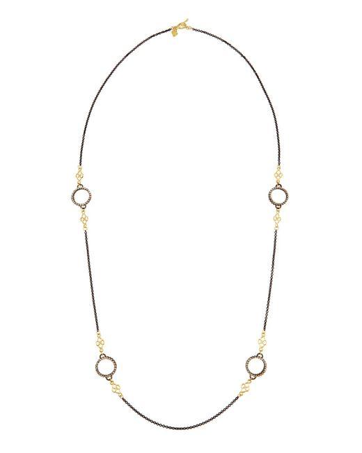 Armenta   Metallic Heraldry Long Diamond Circle & Scroll Station Necklace   Lyst