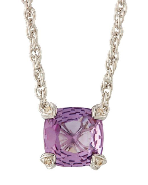 Judith Ripka | Purple Cushion-cut Amethyst & Diamond Pendant Necklace | Lyst