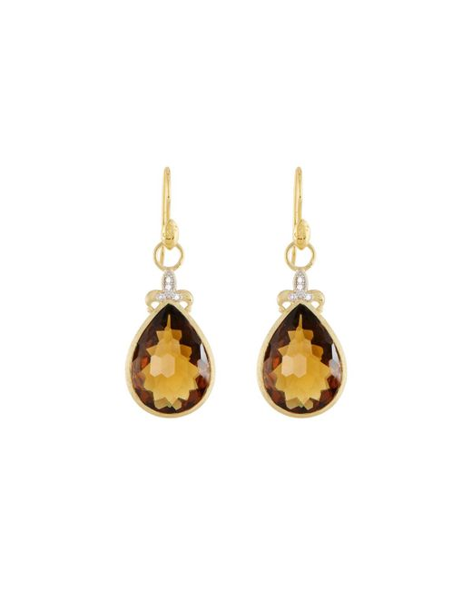 Jude Frances - Metallic Large Pear Stone Fleur Earring Charms - Lyst