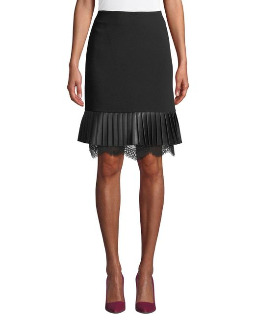 Karl Lagerfeld - Black Faux-leather & Lace A-line Skirt - Lyst