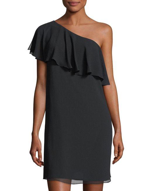 Cece by Cynthia Steffe | Black Crinkle Chiffon One-shoulder Minidress | Lyst