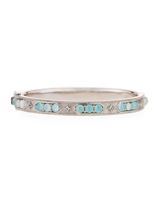 Jude Frances - Multicolor Lisse Doublet Bangle Bracelet Amazonite/moonstone - Lyst