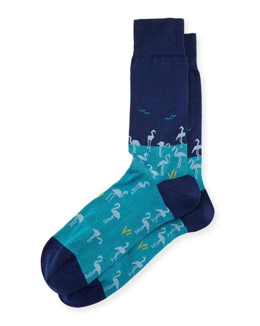 Bugatchi | Blue Flamingo Cotton-blend Socks for Men | Lyst
