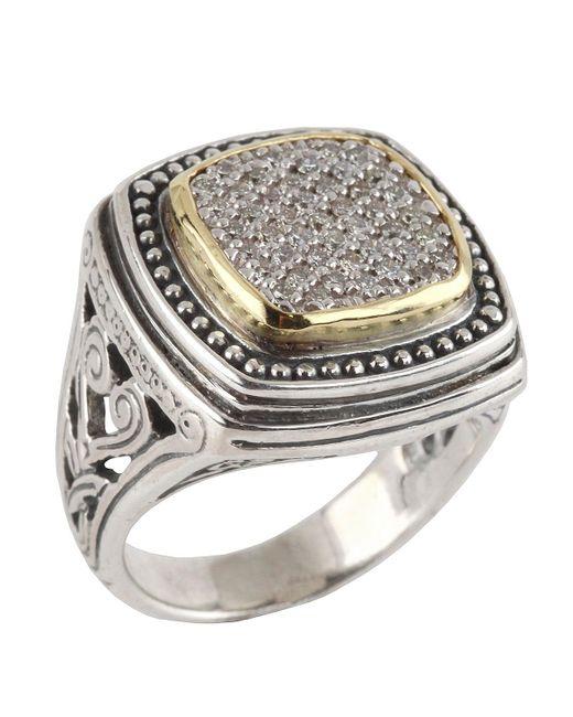 Konstantino | Metallic Asteri Ornate Square Pave White Diamond Ring | Lyst