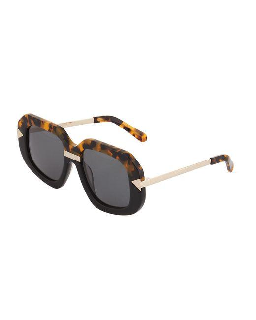 Karen Walker - Black Hollywood Creeper Havana Acetate/metal Sunglasses - Lyst