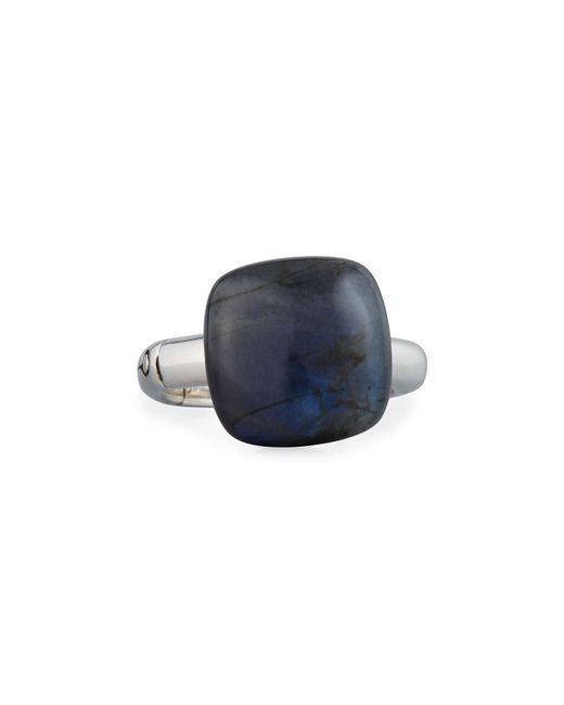 John Hardy - Blue Bamboo 14mm Labradorite Cushion Ring Size 7 - Lyst