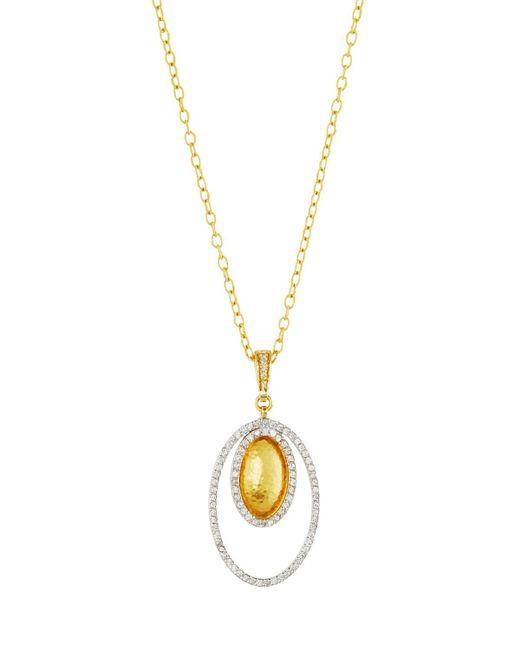 Gurhan | Metallic 24k Two-tone Diamond Oval Pendant Necklace | Lyst