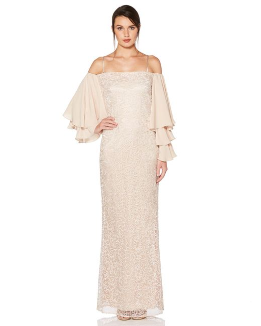 Laundry by Shelli Segal - Natural Soutache Ruffle Sleeves Gown - Lyst