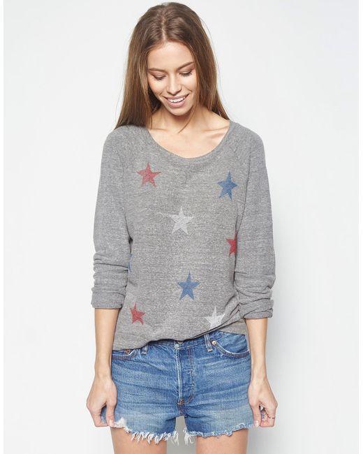 Lauren Moshi - Gray Aggie Color Mini Stripe Stars Classic Pullover - Lyst