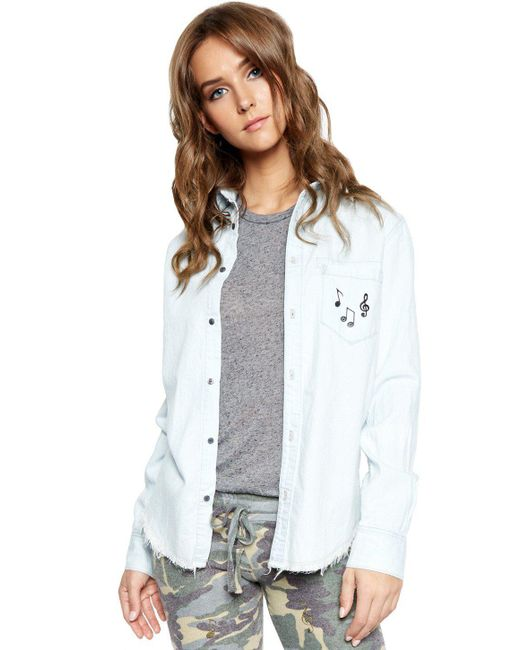 Lauren Moshi - Blue Sloane Allover Music Notes L/s Button Up Denim Shirt - Lyst