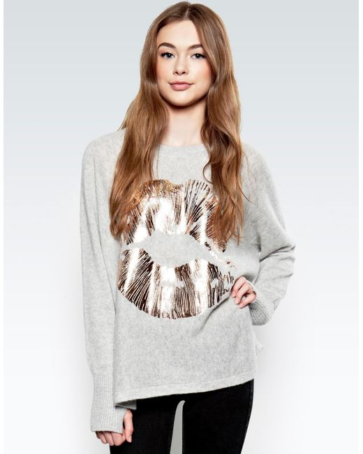 Lauren Moshi | Gray Hollis Rose Gold Foil Lip L/s Cashmere Pullover Sweater W/thumbholes | Lyst