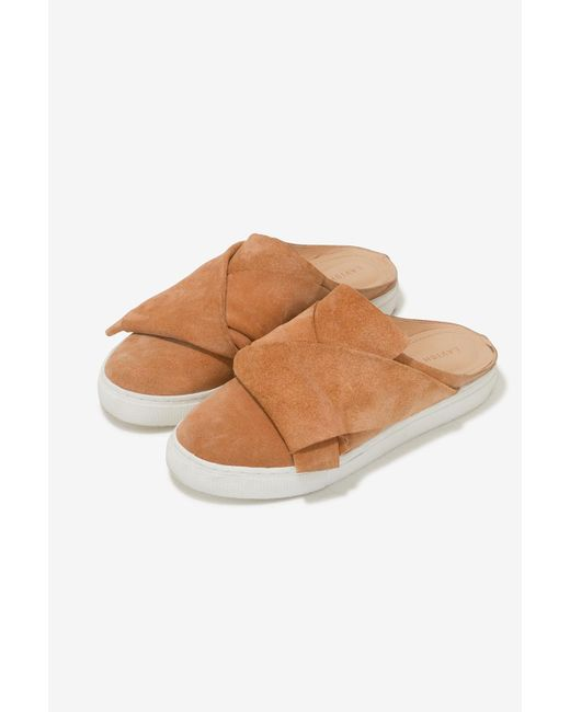 Lavish Alice | Natural Suede Backless Trainers In Camel | Lyst