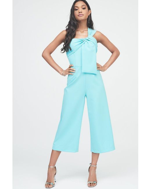 Lavish Alice - Blue Twisted One Shoulder Wide Leg Culotte Jumpsuit - Lyst