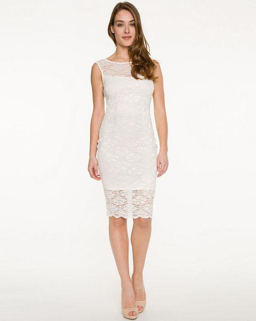 Le Chateau - White Lace Illusion Cocktail Dress - Lyst