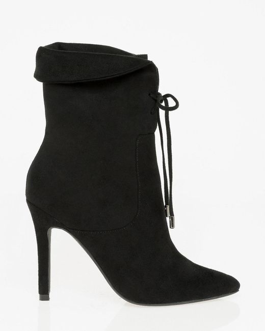 Le Chateau - Black Suede-like Pointy Toe Ankle Boot - Lyst