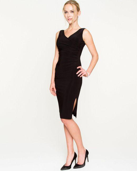Le Chateau - Black Knit Faux Wrap Midi Dress - Lyst