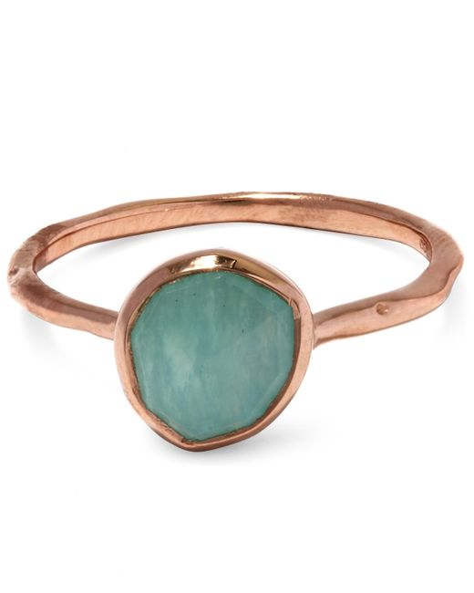 Monica Vinader | Multicolor Rose Gold-plated Amazonite Siren Stacking Ring | Lyst