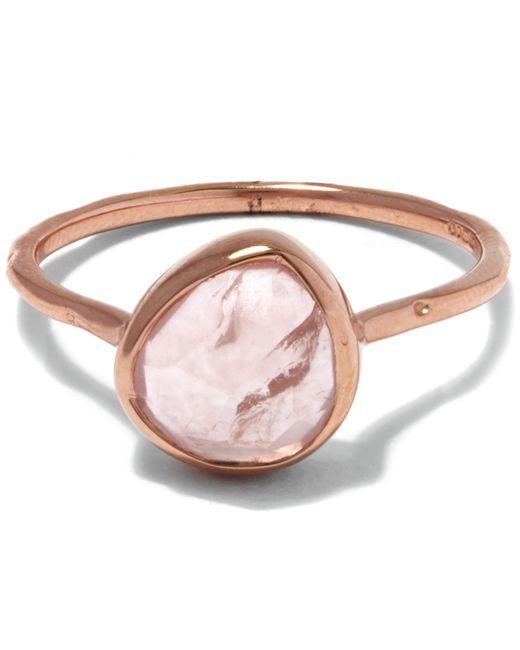 Monica Vinader   Metallic Rose Gold-plated Rose Quartz Siren Stacking Ring   Lyst