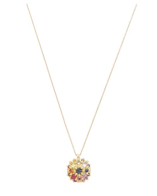 Polly Wales - Metallic Gold Ourika Rainbow Sapphire Dome Pendant Necklace - Lyst