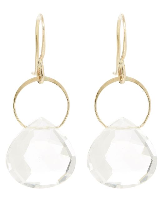 Melissa Joy Manning | Metallic Gold Single Drop White Topaz Earrings | Lyst