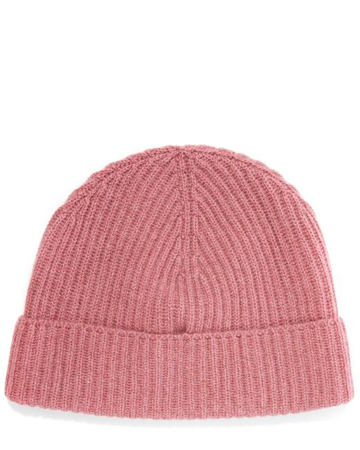 Knitting Pattern For Cashmere Beanie : Johnstons Cashmere Knitted Ribbed Beanie Hat in Pink Lyst