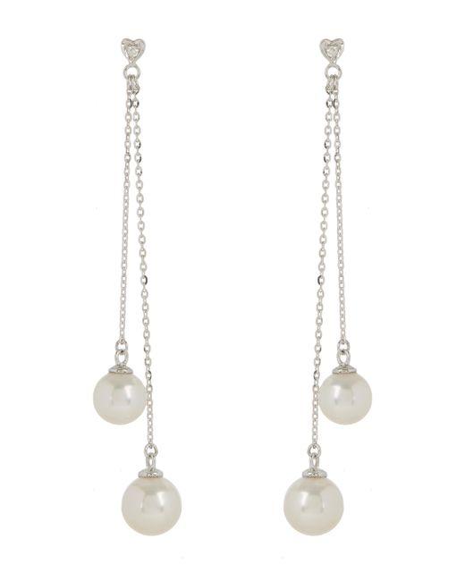 Kojis   White Gold Tassel Pearl Earrings   Lyst