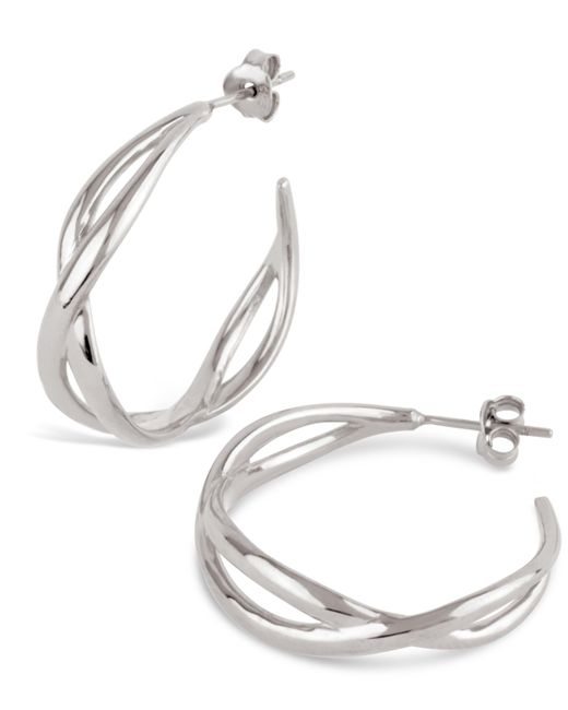 Dinny Hall - Metallic Silver Twist Small Open Hoop Earrings - Lyst