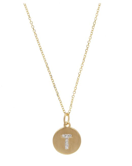 KC Designs - Metallic Gold And Diamond Letter T Disc Pendant Necklace - Lyst