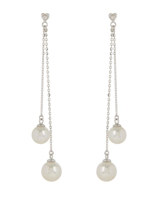 Kojis - White Gold Tassel Pearl Earrings - Lyst